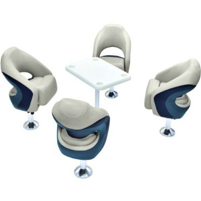 AMRW-WS14033-989 Wise Boat Seats Cocktail Group With Table & Pedestals -...
