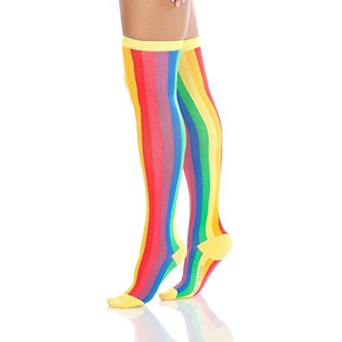 Foot Traffic Over-the Knee Women's Novelty Socks (Rainbow)