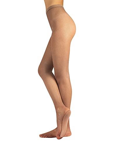 CALZITALY Resistentes Medias de Rejilla con Suela Confort | Medias de Baile Salsa, Bachata | Naturales, Negros | Calcetería Italiana | (S, Natural)