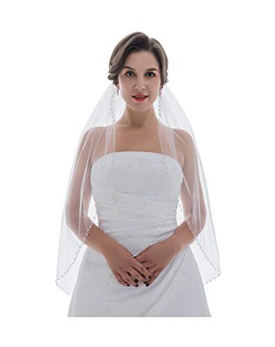 "1T Rhinestone Pearl Sequin Beaded Wedding Veil - White Elbow Length 30"" V478"