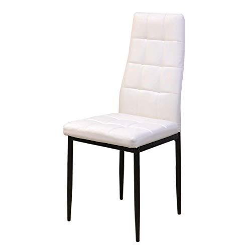 Homely - Silla de Comedor KALIMA tapizada en Polipiel Color Blanco