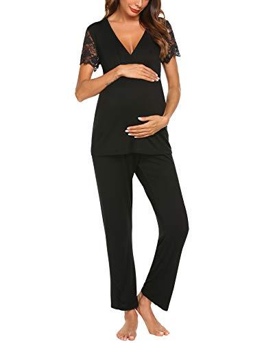 MAXMODA MAXMODA Damen Stillpyjama-Umstandspyjama-Schlafanzug V Ausschitt Oberteil mit Spitze Kurzarm schwarz XL