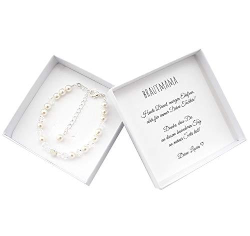 Brautmutter Geschenk Armband Perlen Geschenkbox