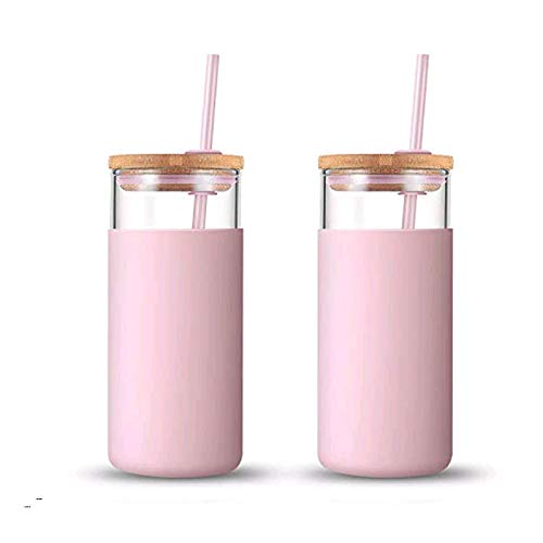 tronco 20oz Glass Tumbler Glass Water Bottle Straw Silicone Protective Sleeve Bamboo Lid - BPA Free (Pink/ 2-Pack)