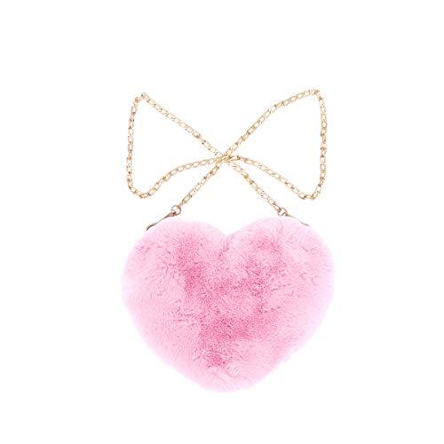 FENICAL bolso bandolera con forma de corazón de felpa para teléfono móvil con lindo bolso de hombro mullido con cadena para mujer - rosa