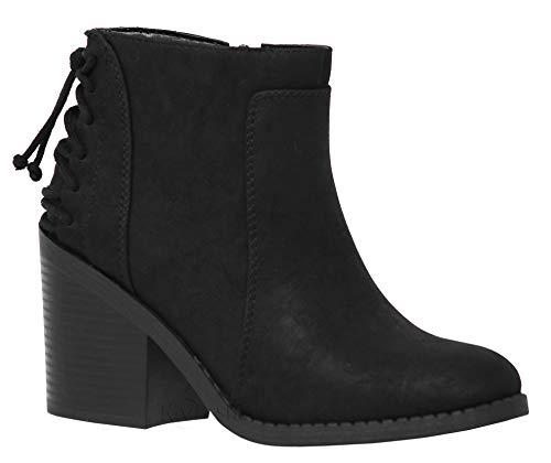 MVE Shoes Women's Classic Block Heel Size Zipper Back Lice Boots, Idaho Black NBPU 7.5