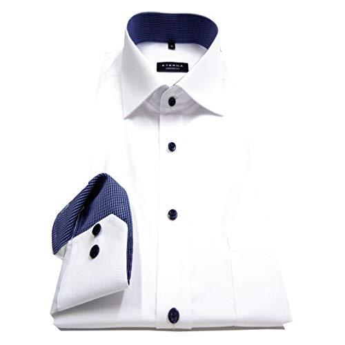 eterna Herren Langarmhemd Business-Hemd Comfort Fit Kent-Kragen unifarben mit Patch (Weiß F1, 44)
