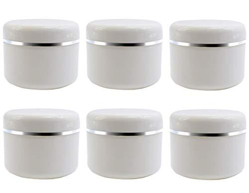 6 tarros vacíos de plástico blanco para maquillaje con tapa de rosca y forro de polipropileno para viajes, contenedorde , crema, loción y bálsamo labial y más (20 g/7 oz)