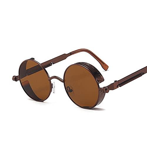 Gosunfly Gafas de sol personales población de moda gafas de sol retro marco de metal de vapor colorido caja redonda-A
