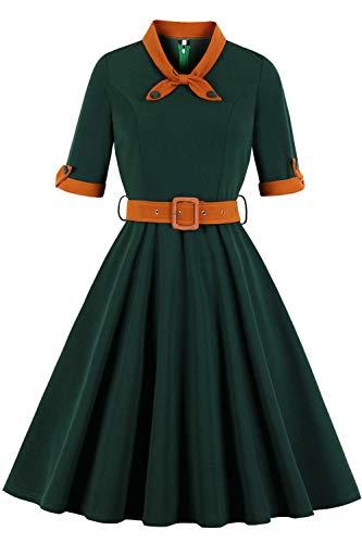 MisShow Damen elegant 1950er Vintage Faltenrock Kleider Cocktailkleider Rockabilly Petticoat Kleider mit Langarm Knielang Gruen XL