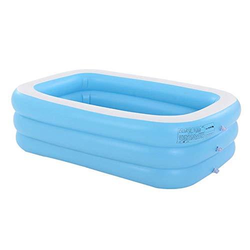 YANGHAO-Bañera grande- Burbuja Bottom Familia Piscina, Set rápido Blow Up Pool Pool Pools, Piscinas para niños al aire libre Bañera de baño, Adultos Niños Inflable Piscina Azul 262x175x60cm / CQYYCLH-