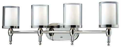 Z-Lite 1908-4V Argenta 4 Light Vanity Light, Metal Frame, Chrome Finish and Matte Opal Glass Inside and Clear Outside Glass Shade of Glass Material