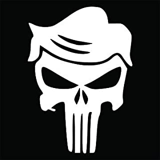 Donald Trump Punisher Skull Funny Vinyl Decal Sticker | Cars Trucks Vans SUVs Walls Cups Laptops | 5.5 Inch | White | KCD27451