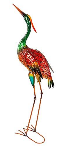KLP Reiher Kranich Fischreiher Metall Vogel Deko Garten Teich Fisch Figur Teichfigur