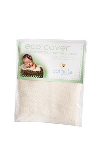 Organic Cotton Crib Mattress Cover by Colgate Mattress | Eco Cover | Fitted, Elastic Edges | Waterproof | Stain-Resistant