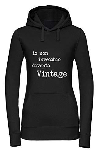 Vestin Felpa Donna con Cappuccio- IO Non INVECCHIO DIVENTO Vintage -Made in Italy (M, Bianco)