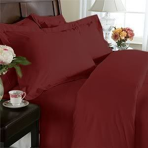 Elegance Linen 1500 Thread Count Queen Size Egyptian Quality 3pcs Duvet Cover, Solid Burgundy