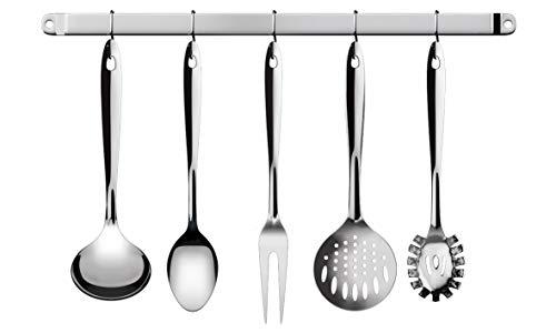 Conjunto Utensílios para Cozinha com Barra 6 Peças Euro Inox