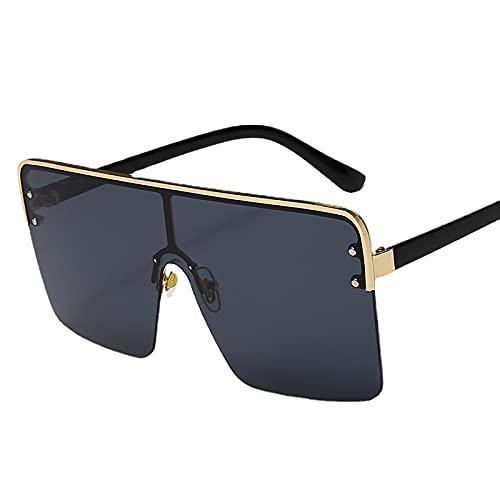 QFSLR Gafas De Sol De Una Pieza con Media Montura para Hombre 100% Protección UV Gafas De Sol De Montura Grande para Mujer