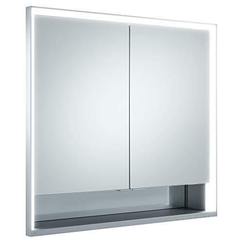Keuco Spiegel-Schrank Unterputz Einbau, mit Variabler LED-Beleuchtung dimmbar, mit Aluminium-Korpus, mit 2 Türen, 80x73,5x16,5 cm Royal Lumos