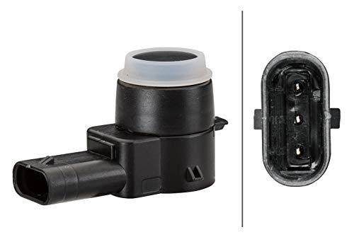 HELLA 6PX 358 141-021 Sensor, Einparkhilfe - gewinkelt - 3-polig - gesteckt - lackierbar - mit Befestigungsring