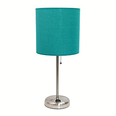 Limelights LT2024-TEL Brushed Steel Lamp with Charging Outlet and Fabric Shade, Teal