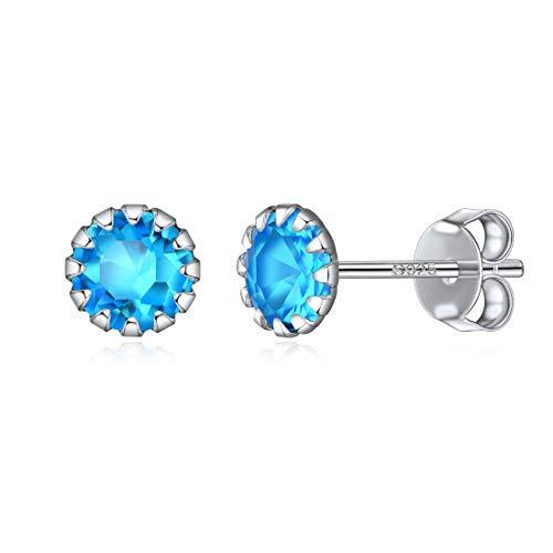 Zirconia Cúbica Deciembre Cristales de Nacimiento Pendientes de Plata de Ley 925 Joya Moderna Turquesa Azul Claro Orejas Sensibles