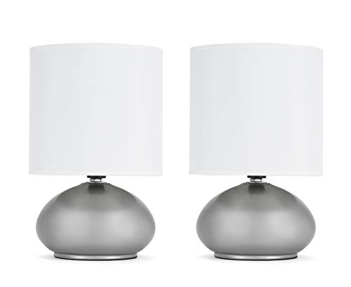 Catalina Lighting 18581-000 Transitional 2 Pack Matching Small Touch Table Lamp Set, 9.25, Classic Brushed Nickel