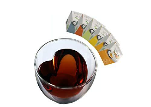 Celissimo Teeset 2: 300ml Herzglas + 6X Teepyramiden - doppelwandiges Glas in Herzform, 6X Verschiedene Tee-Pyramiden - Set by Feelino