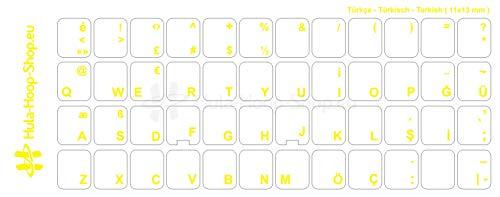 Türkische Tastaturaufkleber, transparent, laminierte matte Oberfläche, für Standard Tastaturen, Made in Germany, Gelb