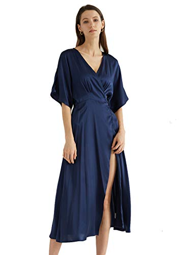 Escalier vrouwen satijnen wikkel jurk V-hals Split korte mouw partij Maxi jurk met riem