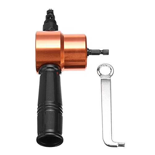 Power Drill Nibbler Double Head Metal Sheet Nibbler Drill Attachment with Wrench Parts Orange