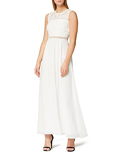 Marca Amazon - TRUTH & FABLE Vestido Largo de Gasa Mujer, Blanco (Ivory), 36, Label: XS