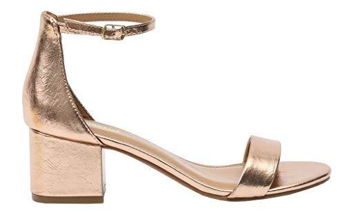 Cushionaire Women's Alba one band mid block heel sandal Gold 8.5 +Memory Foam Insole