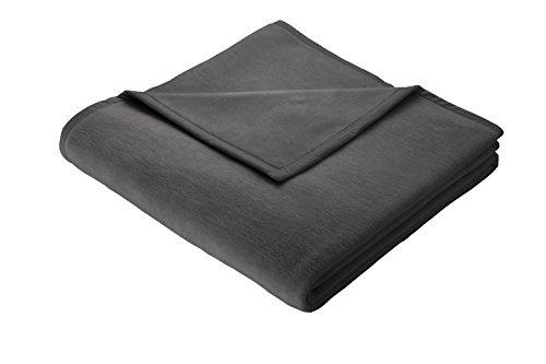 biederlack 150x 200cm Baumwolldecke/Überwurf Überwurf ohne Muster, Charcoal (Dunkelgrau) anthrazit