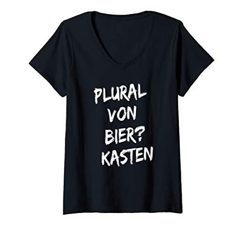 Damen Plural von Bier? Kasten T-Shirt mit V-Ausschnitt