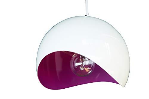 anTes interieur Hängeleuchte Verve weiß lila mit 10 Watt LED-Leuchtmittel 20 cm Ø (Pendelleuchte Hängelampe Deckenlampe Pendellampe Deckenleuchte)