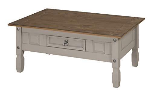 Mercers Furniture Corona Premium Grey Wax Coffee Table, wood, H-45cm W-100cm D-60cm