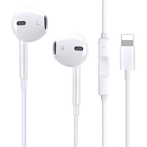 Victorist In-ear hoofdtelefoon, stereo hoofdtelefoon met bas-microfoons, compatibel met iPhone 7/7 Plus/8/8 Plus/X/XS Max (wit)