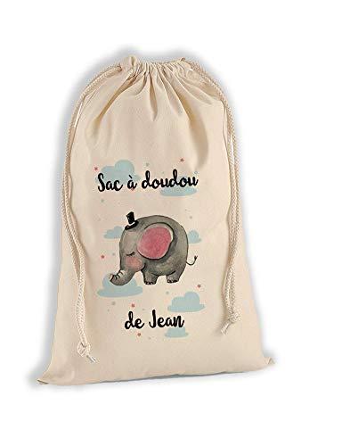 Sac à Doudou 100% Coton Bio - Eléphant- personnalisé