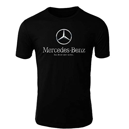 Mercedes Benz 3 T-Shirt Logo Clipart Herren CAR Auto Tee TOP Black Long Sleeves Short Sleeves (S, Black - Short)