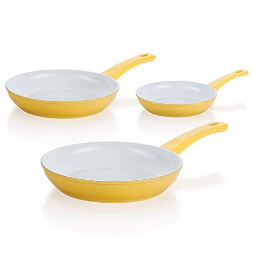 Genius Cerafit Style Deluxe Brat-Pfanne Induktions-Pfanne Keramik-Pfanne Set (3tlg) gelb Ø 20,24,28 cm mit kratzfester Antihaft-Beschichtung für gesundes Kochen ohne Fett und Öl…