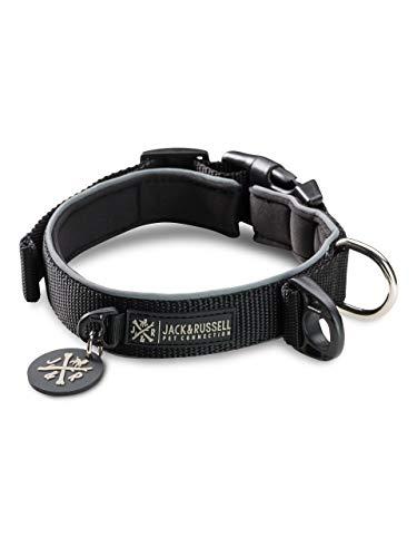 Jack & Russell Premium Hundehalsband Luna reflektierend und Neopren gepolstert Hunde Halsband div. Größen und Farben (Halsumfang L (43-58 cm), Schwarz)
