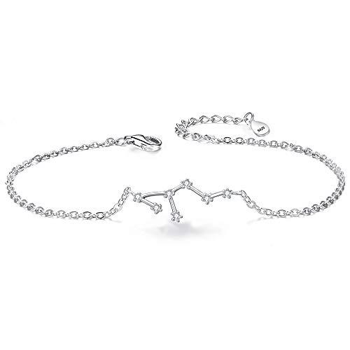 Clearine Armkette Sternzeichen 925 Sterling Silber CZ 12 Sternbild ''Löwe'' Einfach Stil Armband für Damen Mädschen