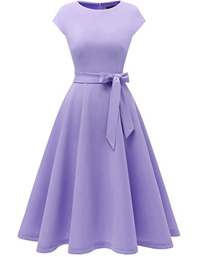 Women Casual Tea Dress Aline Swing Vintage Cocktail Dresses, Modest Church Formal Dress, Flared Bridesmaid Midi Dress for Party/Graduation/Homecoming/Prom Lavender XL