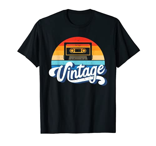 Vintage Cassette and Sunset 80s Theme T-shirt in Adult, Child Sizes, 10 Colors