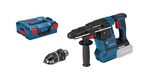 Bosch Professional 18V System Akku Bohrhammer GBH 18V-26 F System (ohne Akkus und Ladegerät, inkl. Zusatzhandgriff, Tiefenanschlag, Maschinentuch, Wechselfutter SDS plus, in L-BOXX)
