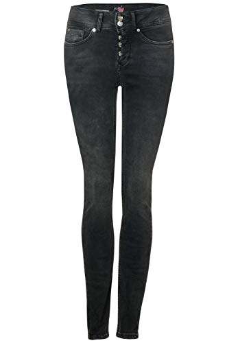 Street One Damen York Slim Fit Jeans, Bleached Black Authentic wash, W27/L28
