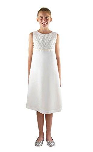 Verasposa Weißes Kommunionkleid für Mädchen Viskose/Leinen mit niedlicher Baumwollspitze Emma im Empire Stil, färbbar (152/158, weiß)
