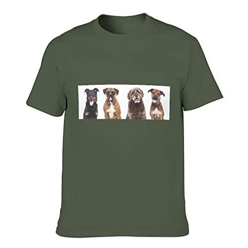 Camiseta de algodón para hombre con diseño de perros y animales, para amantes de las mascotas, de manga corta verde militar L